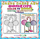 CANDY CANES AND GUMDROPS COLOR BY NUMBER FOR ADDITION AND