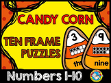 HALLOWEEN ACTIVITIES KINDERGARTEN (CANDY CORN MATH) TEN FRAMES PUZZLES