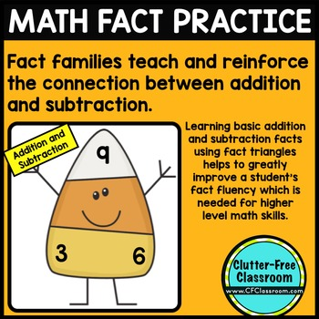 Addition Flash Cards - Subtraction Flash Cards - Fact Families - CANDY CORN