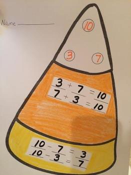 CANDY CORN NUMBER BONDS FACT FAMILY  Math