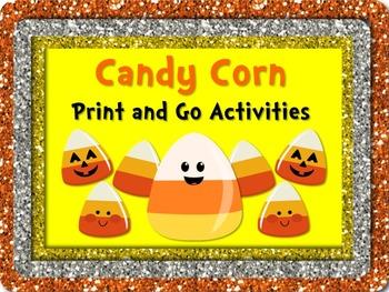 HALLOWEEN CANDY CORN Literacy & Math PRINT & GO NO PREP Bonus Bookmarks/Posters