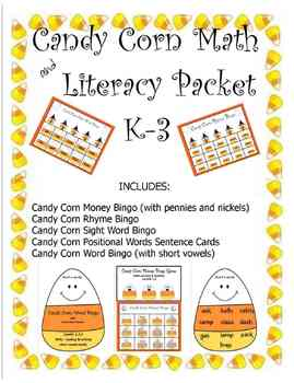 CANDY CORN MATH AND LITERACY PACKET 1-3