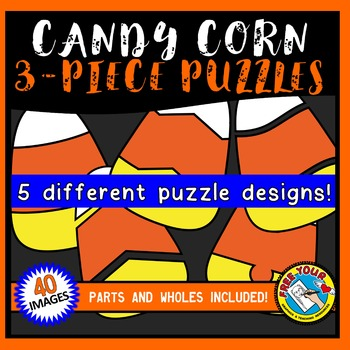 CANDY CORN PUZZLES CLIPART: CANDY CORN CLIPART PUZZLES(3piece):HALLOWEEN CLIPART