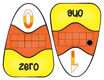CANDY CORN TEN FRAME PUZZLES 0-20 PLUS MATCHING CARDS MATH CENTER HALLOWEEN FALL