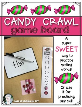 Candy Crawl Game Board {Writing Sight Words & Spelling} Kindergarten & First