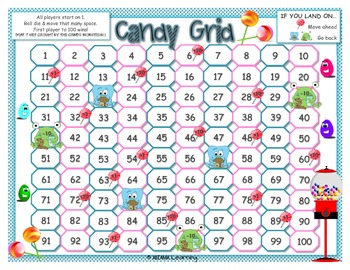 Candy Grid Math Game - Adding and Subtracting 1 & 10 on Number Grid
