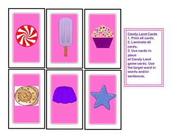 SPEECH THERAPY CANDY LAND PICTURE CARDS for FRUITS, VEGETABLES and OTHER FOOD