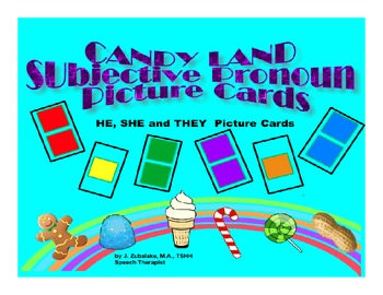 CANDY LAND PICTURE CARDS for SUBJECTIVE PRONOUN & SUBJECT VERB AGREEMENT