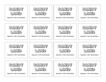 CANDY LAND Spanish (level1) Boot Verb Game Card Set