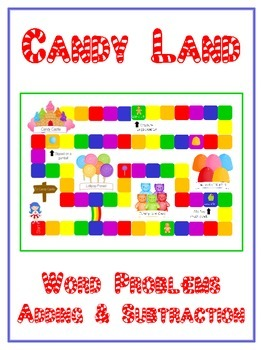 CANDY LAND - Word Problems Adding & Subtracting - Math Folder Game
