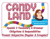 CANDYLAND game Spanish 3 obligations/responsibilities, pres. subjuntive, future