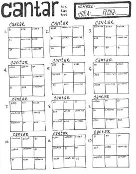 CANTAR ~tic tac toe ~Spanish verb conjugation game -AR verbs ~NO PREP
