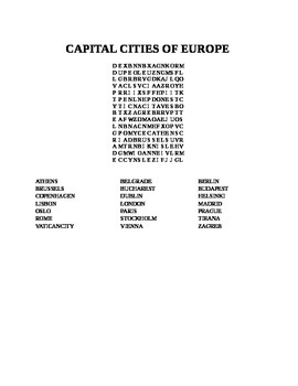 CAPITAL CITIES OF EUROPE WORD SEARCH