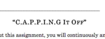 C.A.P.P.I.N.G. it Off - Student Self Assessment