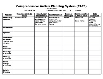 CAPS- Comprehensive Planning Autism System *Autism*