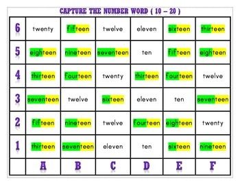 CAPTURE THE NUMBER WORDS 0 -10 and 11 - 20