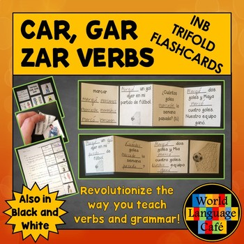 Preterite of Car, Gar, Zar Verbs Interactive Notebook Flashcards, Spanish