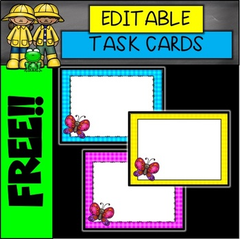 Butterfly EDITABLE Spring Card Templates