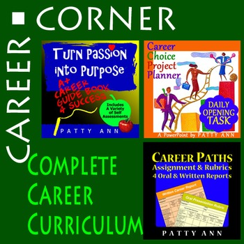 CAREER CORNER ~ Complete Career Curricula 3 Pack> PPT + Project Plan + Curricula