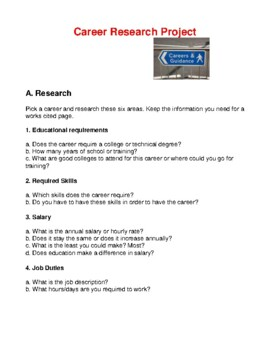 CAREER / JOB RESEARCH PROJECT #2 FOR HIGH SCHOOL STUDENTS- CAREER READINESS