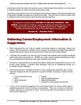 "CAREERS & JOB SKILLS – ""Art of Selling Yourself"" – Sect. 2 -  ""Career Study"""