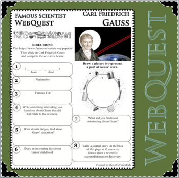 CARL FRIEDRICH GAUSS Science WebQuest Scientist Research Project Biography Notes