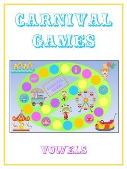 CARNIVAL GAMES Vowels- ELA First Grade Folder Game - Word Work Center