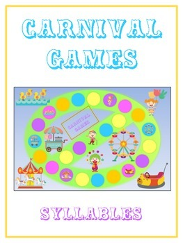 CARNIVAL Syllables - ELA First Grade Folder Game - Word Work Center