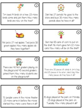 CARNIVAL - Word Problems Adding & Subtracting - Math Folder Game