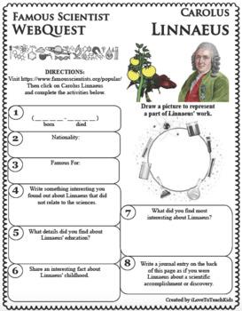 CAROLUS LINNAEUS Science WebQuest Scientist Research Project Biography Notes