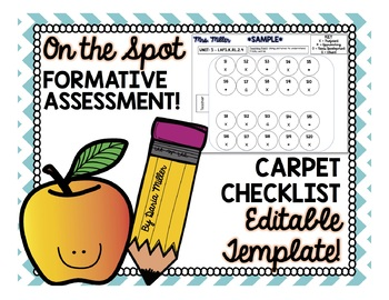 CARPET CHECKLIST! On the Spot Formative Assessment!