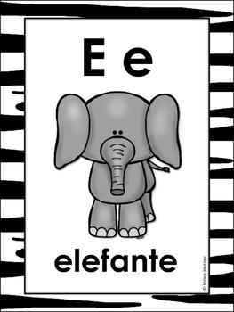 CARTELES DEL ABECEDARIO CON ANIMALES. Animal Spanish Alphabet Posters.