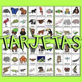 #4 CARTELES y TARJETAS Hábitats de Animales LA SELVA TROPICALen ESPAÑOL Gr. 1-3