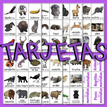 #8 CARTELES y TARJETAS Hábitats de Animales LAS MONTAÑAS en ESPAÑOL Gr. 1-3