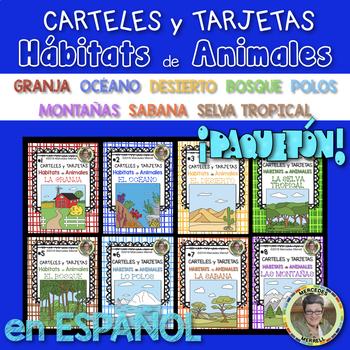 Bundle! CARTELES y TARJETAS (8) Hábitats de Animales en ESPAÑOL Gr.1-3