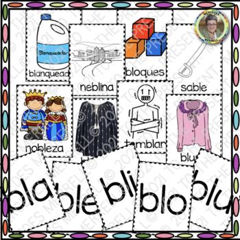 CARTELES y TARJETAS de sílabas trabadas CONSONANT BLENDS en palabras con BL
