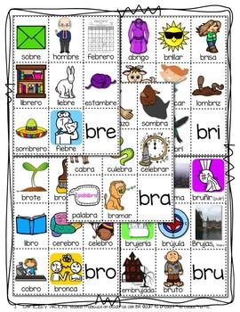 CARTELES y TARJETAS de sílabas trabadas CONSONANT BLENDS en palabras con BR