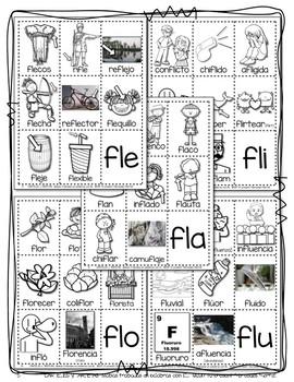 CARTELES y TARJETAS de sílabas trabadas CONSONANT BLENDS en palabras con FL