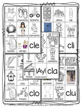 CARTELES y TARJETAS sílabas trabadas CONSONANT BLENDS en palabras con CL