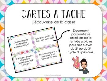 CARTES À TÂCHE - Découverte de la classe - RENTRÉE SCOLAIRE