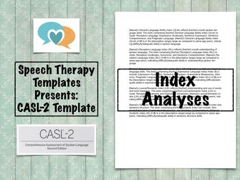 CASL-2 Template | Speech Therapy Assessment