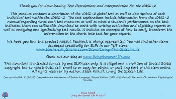 CASL-2: Test Descriptions and Interpretation