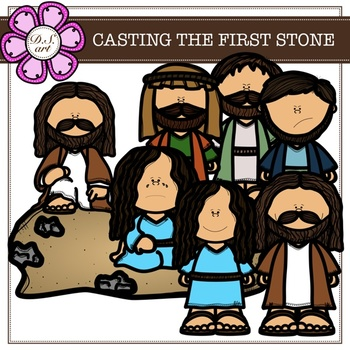 CASTING THE FIRST STONE digital clipart (color and black&white)