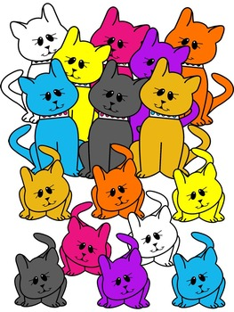 CAT CLIPART* COLOR AND BLACK AND WHITE