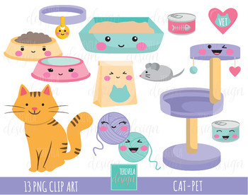 CAT clipart, pet clipart, kawaii clipart, pet food, kittie clipart