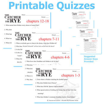 THE CATCHER IN THE RYE 5 Pop Quizzes Bundle