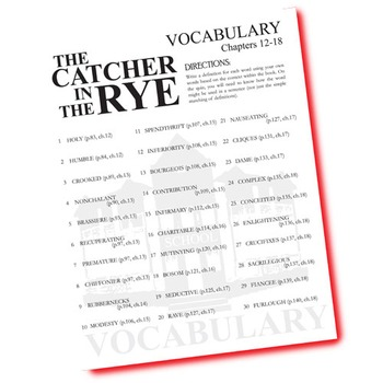 THE CATCHER IN THE RYE Vocabulary List and Quiz (30 words, chs 12-18)