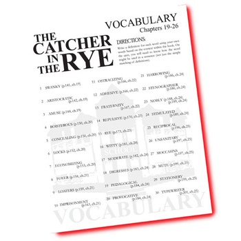 THE CATCHER IN THE RYE Vocabulary List and Quiz (30 words, chs 19-26)