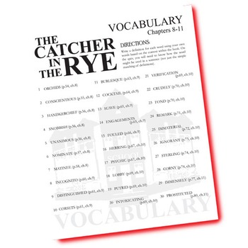 THE CATCHER IN THE RYE Vocabulary List and Quiz (30 words, chs 8-11)