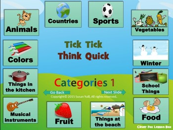 Word Categories - Vocabulary PowerPoint Game